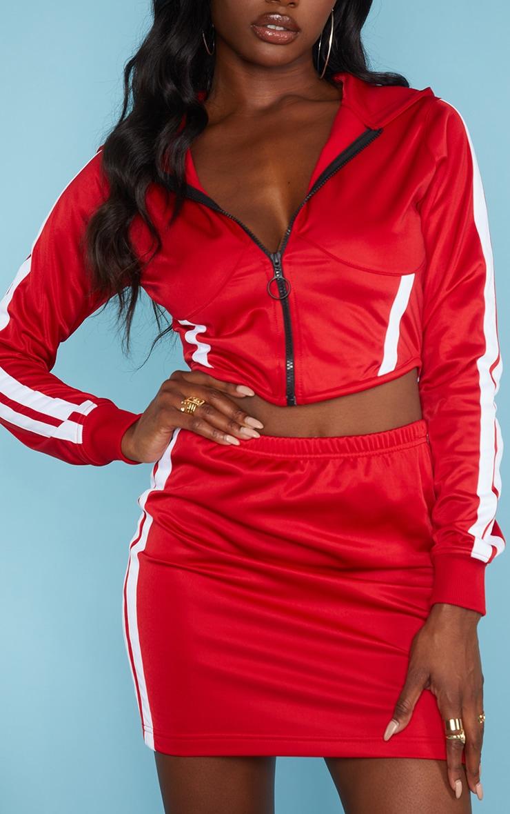 Red Zip Sports Stripe Crop Hoodie 4