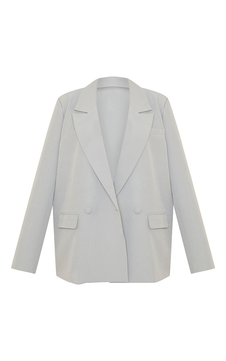 Light Grey Woven Extreme Shoulder Padded Oversized Blazer 5
