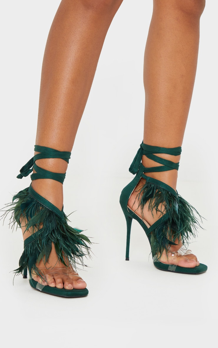 Emerald Square Toe Asymmetric Strap Feather Sandal 2