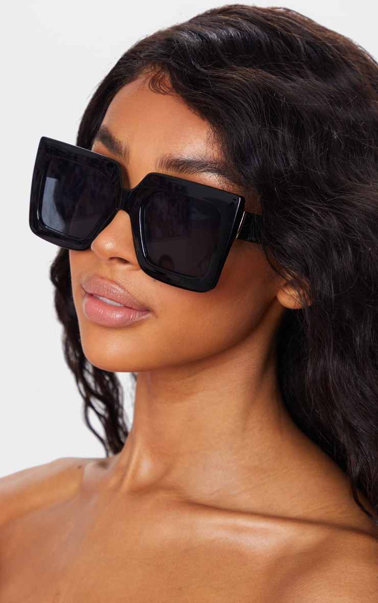 Black Square Oversized Frame Sunglasses 1