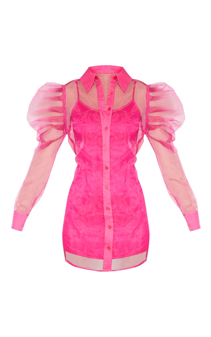 Hot Pink Puff Shoulder Organza Shirt Dress 3