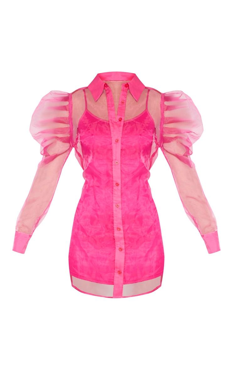 Hot Pink Puff Shoulder Organza Shirt Dress 3