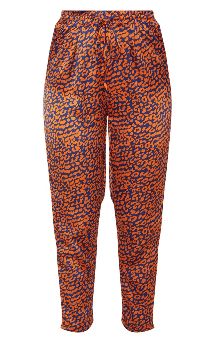Orange Contrast Leopard Print Cigarette Trouser 3