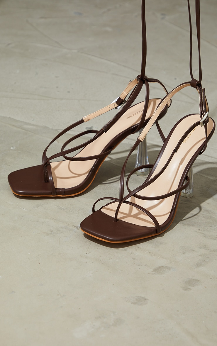 Chocolate Pu Toe Thong Strappy Lace Up Clear High Heels 4