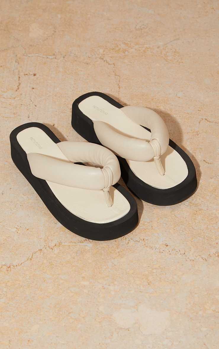 Cream Tube Strap Chunky Toe Post Sandals 3