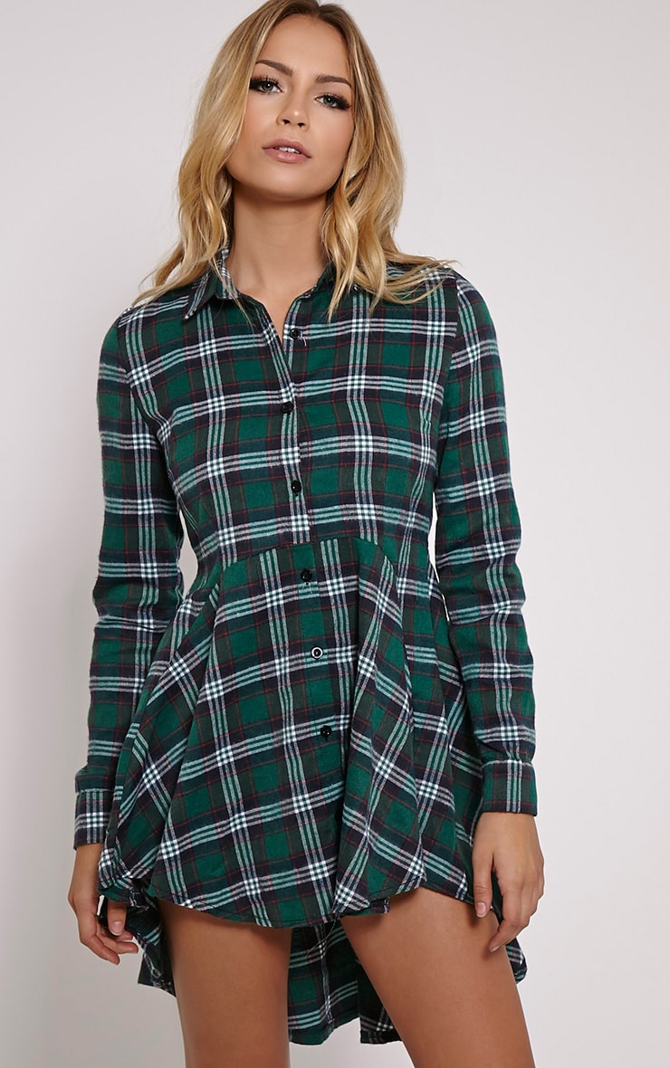 Bobbi Green Checked Skater Shirt Dress 1