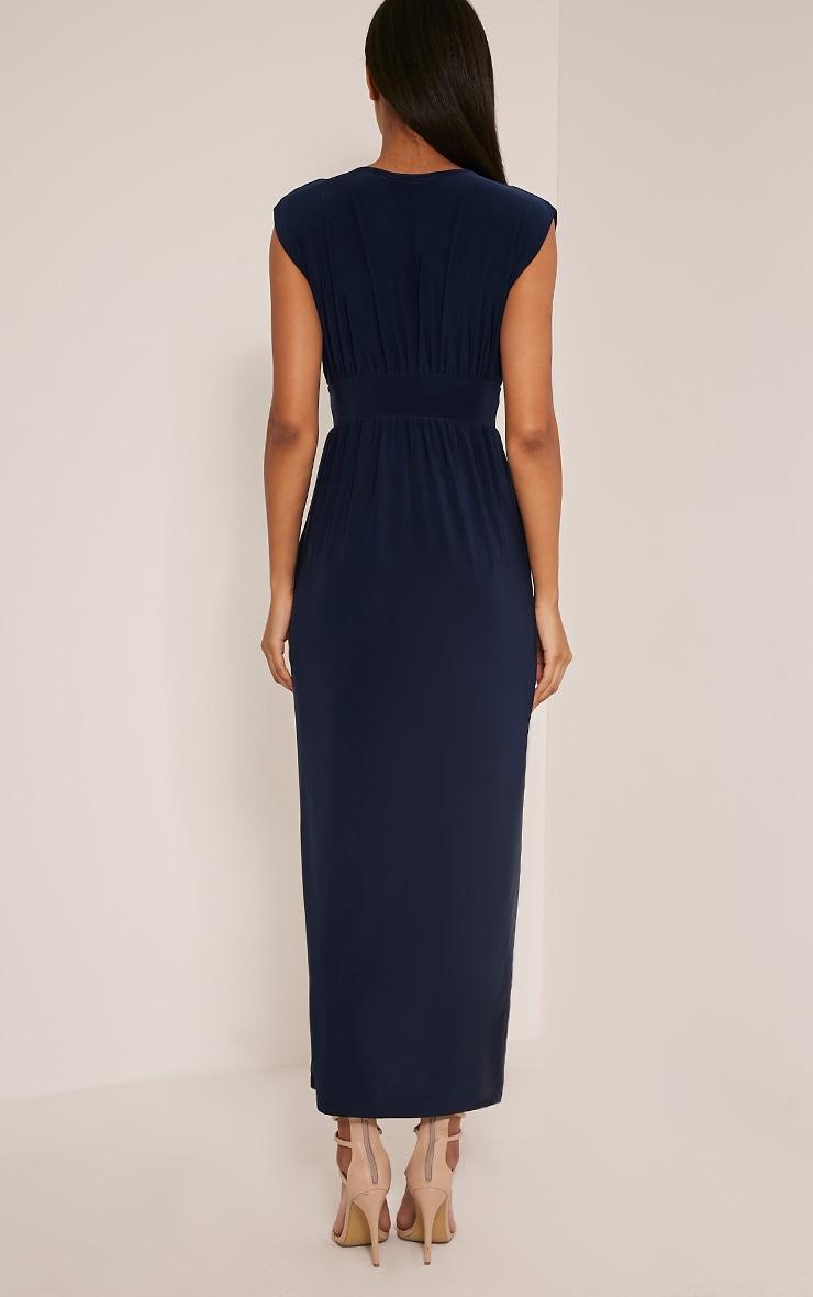 Marlisa Navy Slinky Plunge Maxi Dress 3