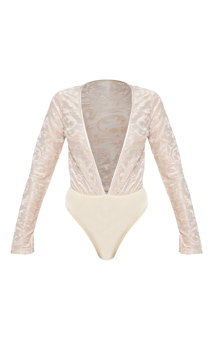 Champagne Devore Plunge Long Sleeve Bodysuit 3