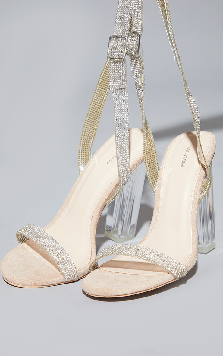 Nude Clear Block Heel Diamante Strap Sandal 3