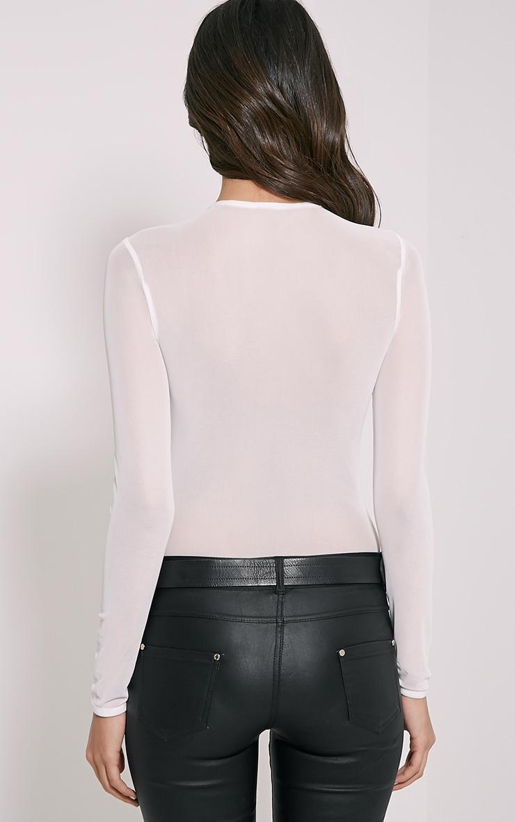 Tia White Lace Applique Bodysuit 2