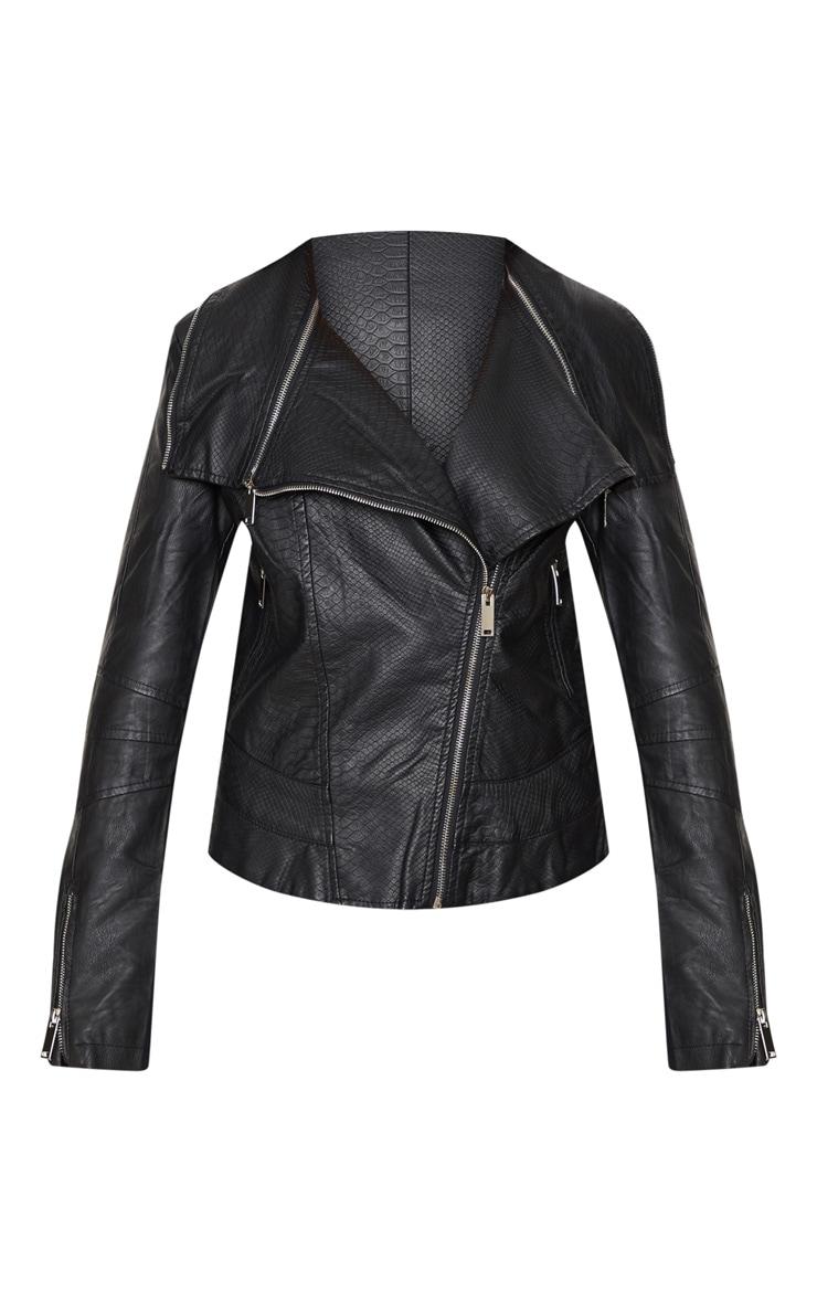 Veste biker en similicuir noir à fermeture éclair 3