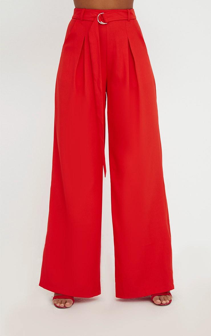Red Wide Leg Tie Waist Trousers 3