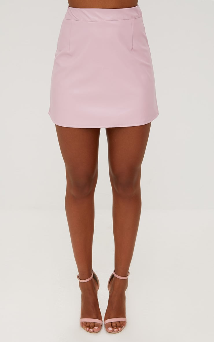 Rose Pink Faux Leather A-Line Mini Skirt 2
