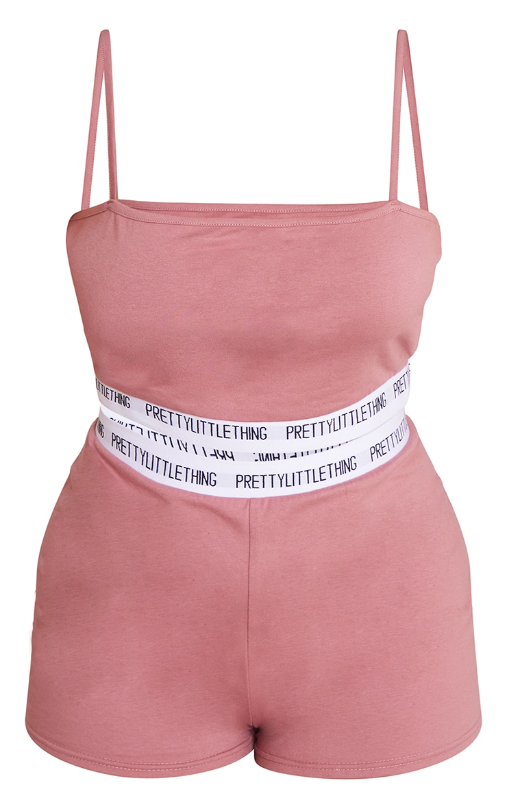 PRETTYLITTLETHING Plus Dusty Pink High Waist Short Lingerie Set 5