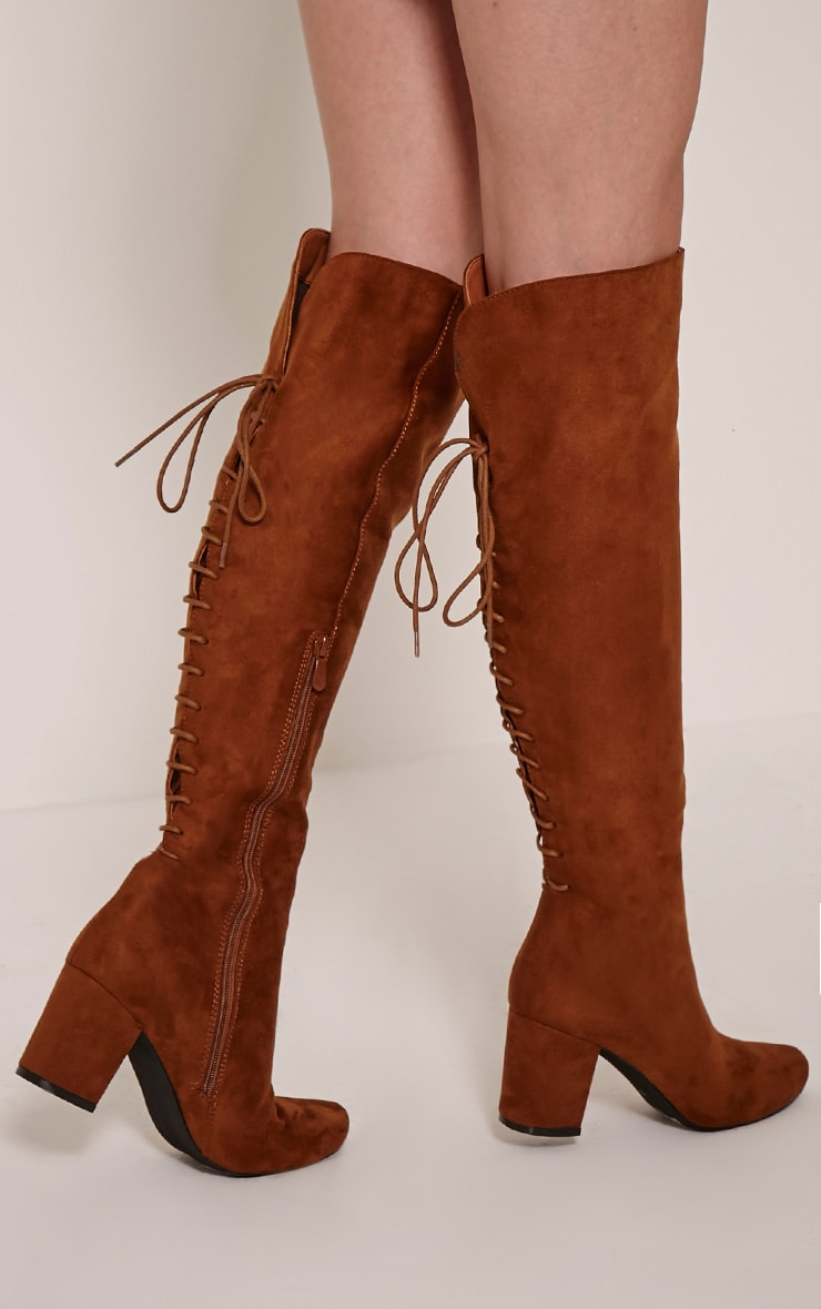 Sharan Tan Faux Suede Laced Up Boots 2