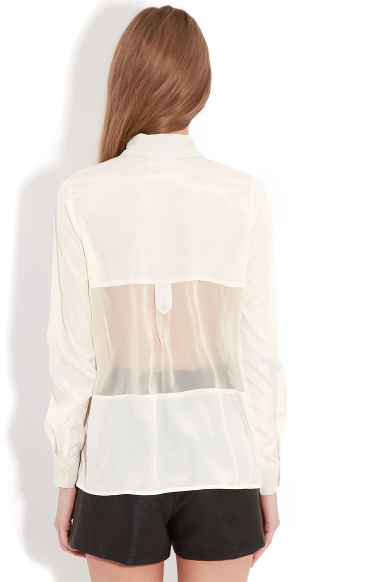 Helena Cream Mesh Panel Blouse   3