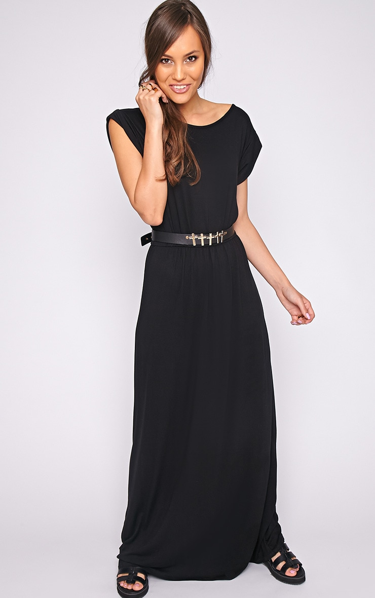 Liberty Black Tshirt Maxi Dress 4