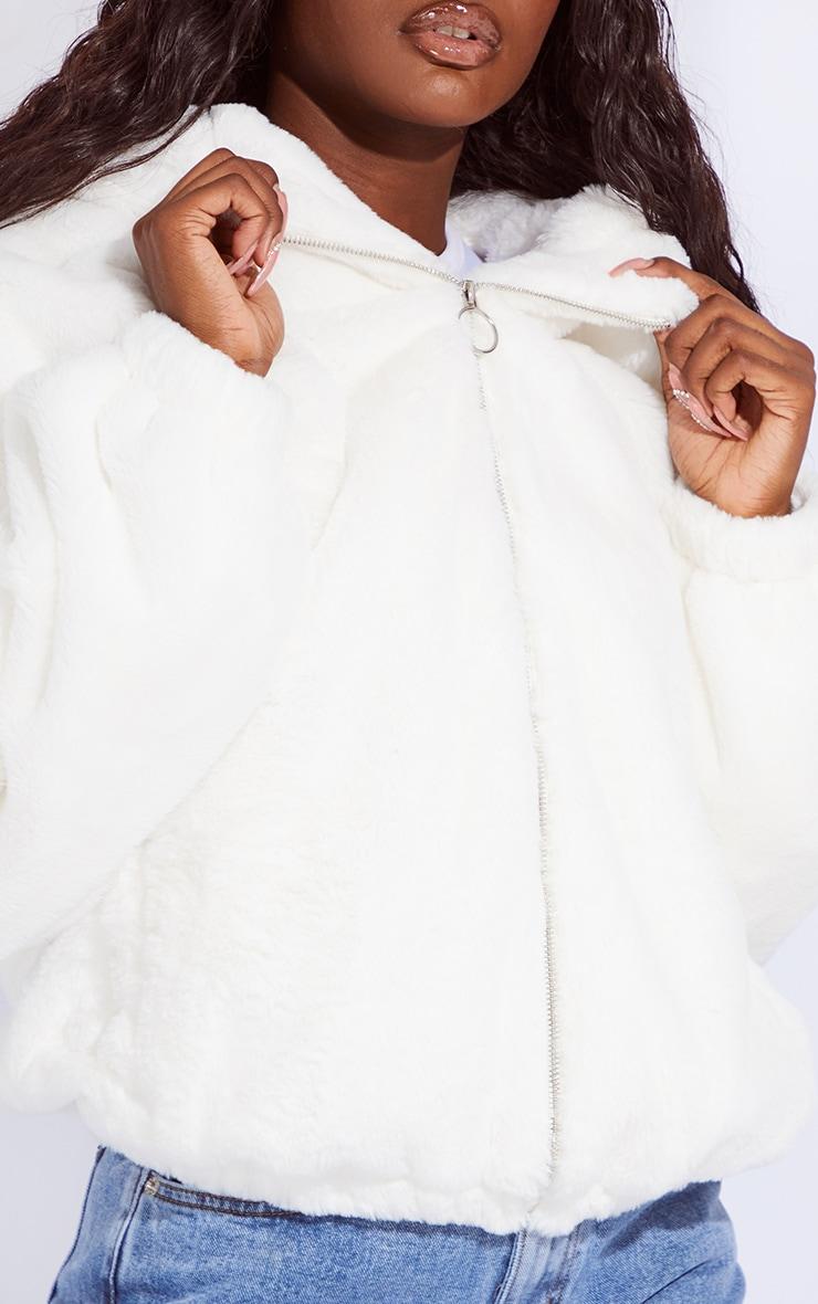 Tall Cream Faux Fur Hooded Balloon Sleeve Reversible Jacket 4
