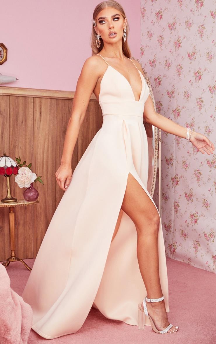 Nude Scuba Strappy Plunge Maxi Dress 3