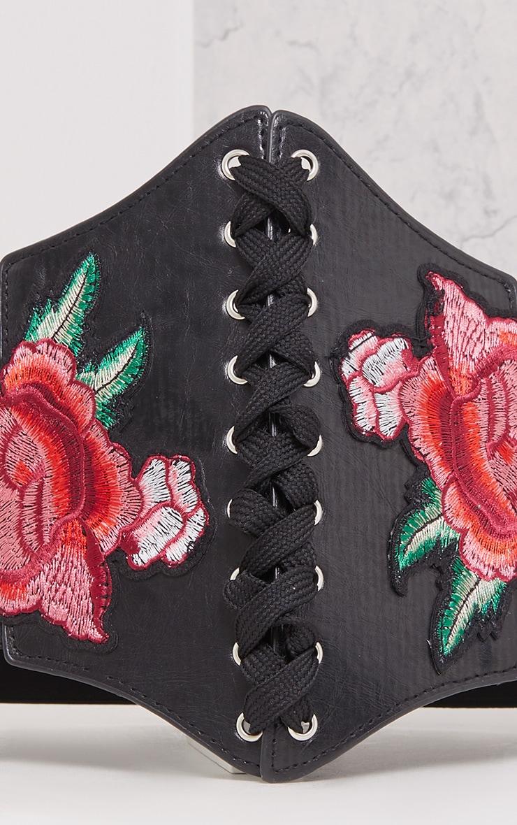 Lifia Black Floral Corset Belt 4