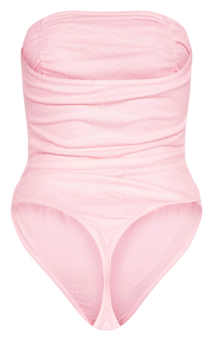 Pink Dobby Mesh Bandeau Ruched Bodysuit  6