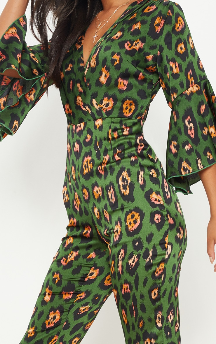 Green Leopard Print Flared Sleeve Jumpsuit 5
