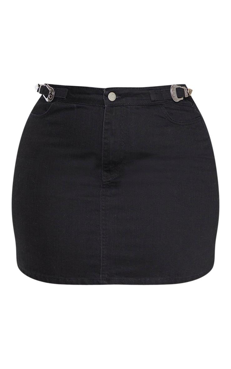 Plus Black Buckle Detail Denim Skirt 3