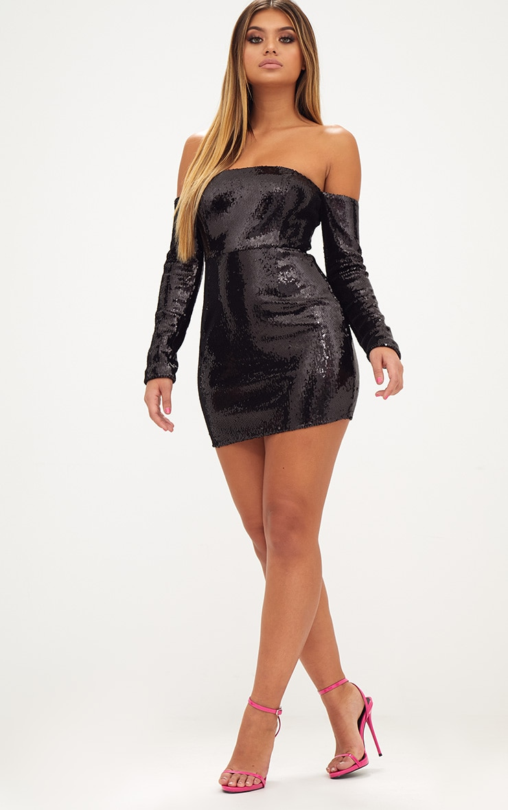 Black Sequin Long Sleeve Bardot Bodycon Dress 5