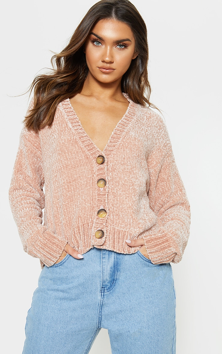 Rose Gold Chenille Knitted Cardigan 1