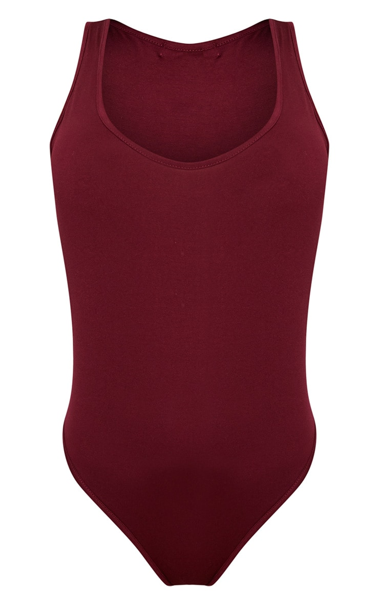 Basic Maroon Racer Back Thong Bodysuit  3