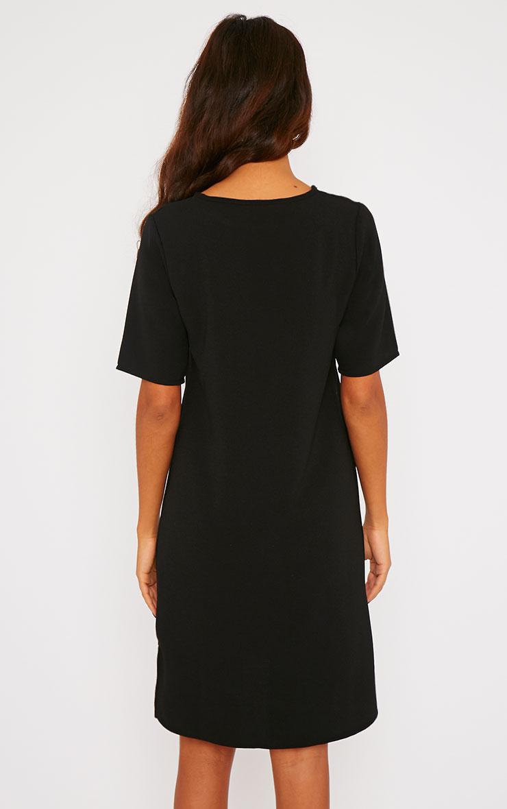 Chante Black Crepe Loose Shift Fit Step Hem T-Shirt Dress 2