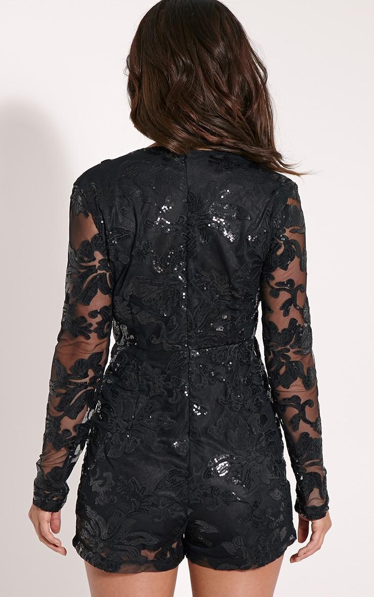 Fernanda Black Lace Deep Plunge Playsuit 2