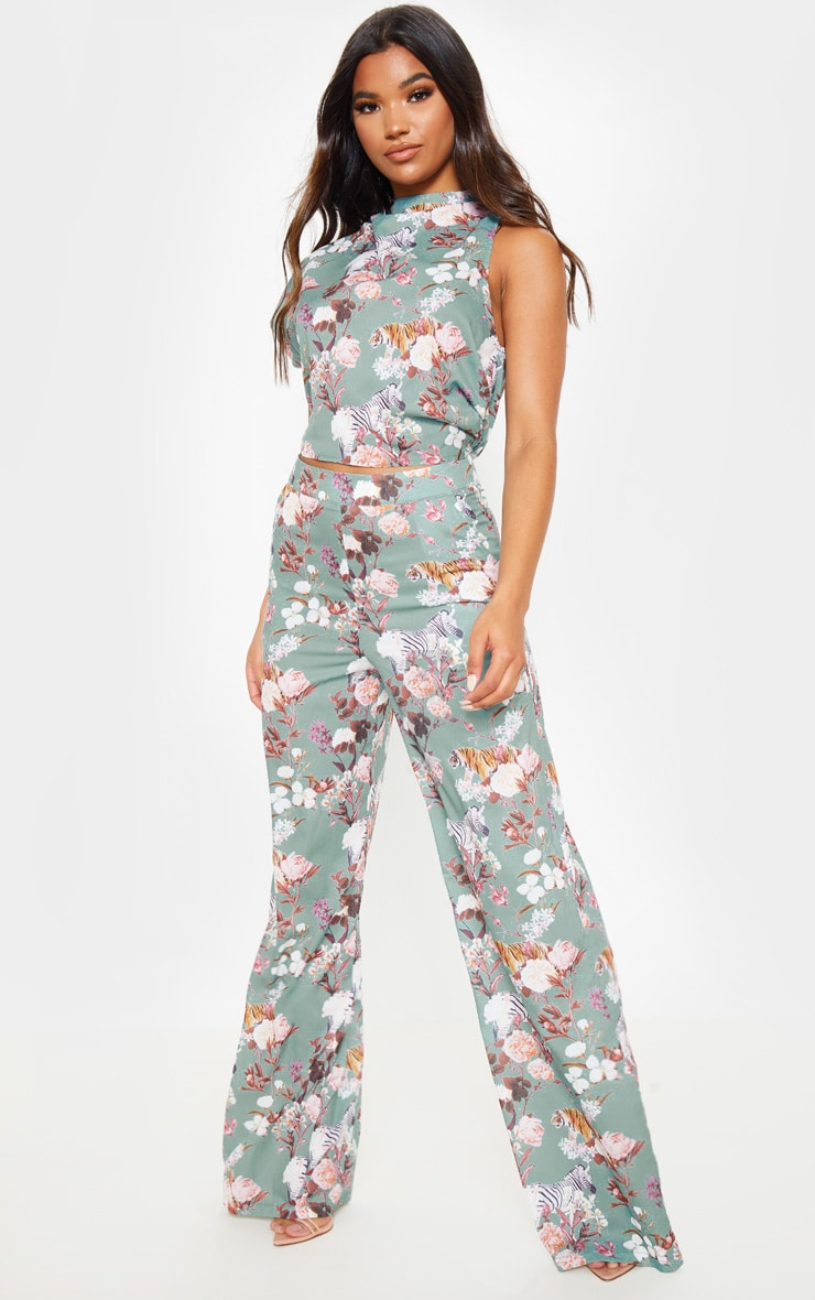 Sage Green Floral Print High Waisted Wide Leg Pants 1