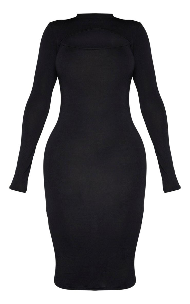 فستان أسود متوسط الطول بأكمام طويلة بقصة مفتوحة مصمم من قماش الجيرسي 3