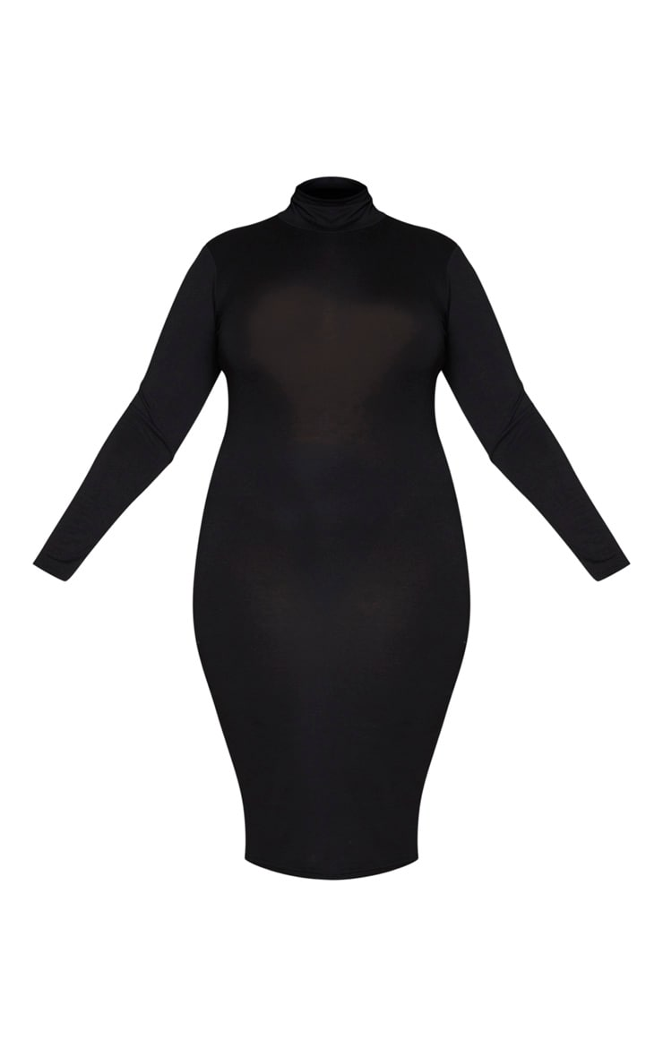 Plus Basic Black Roll Neck Midi Dress 5