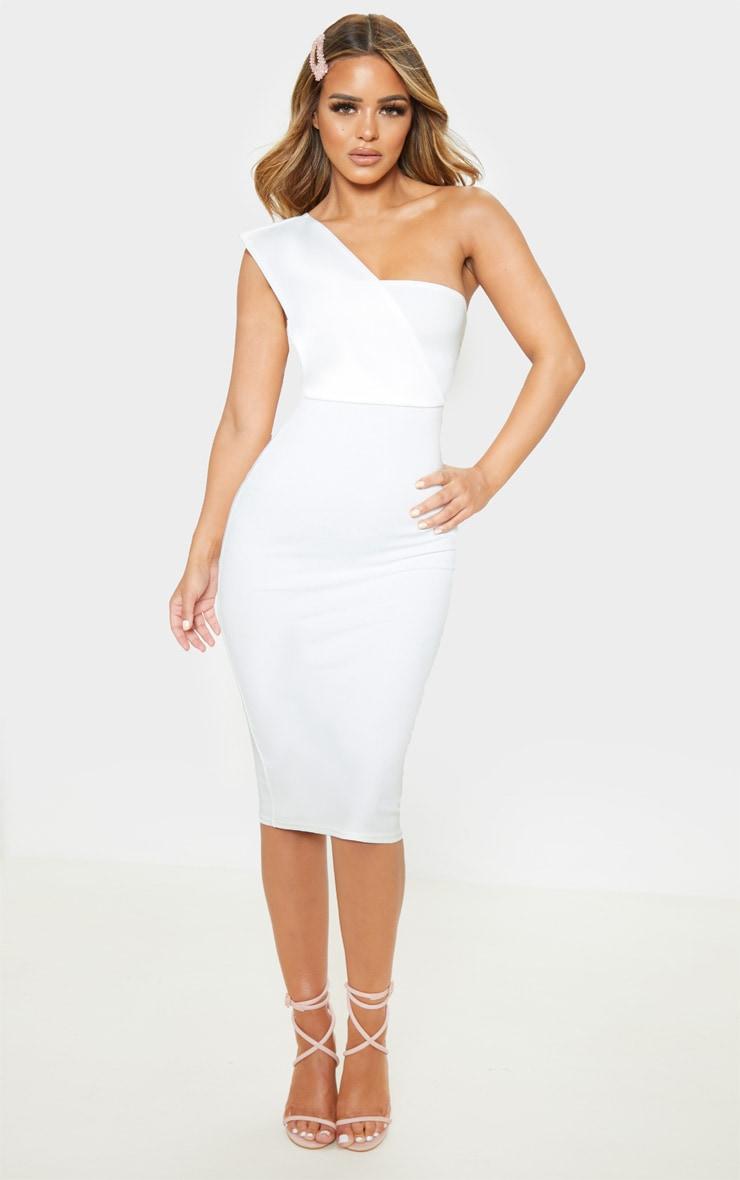 Petite Cream One Shoulder Draped Midi Dress  1