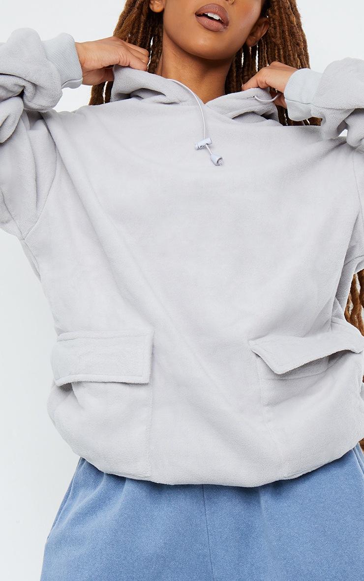 Grey Fleece Oversized Pocket Sweatshirt 4