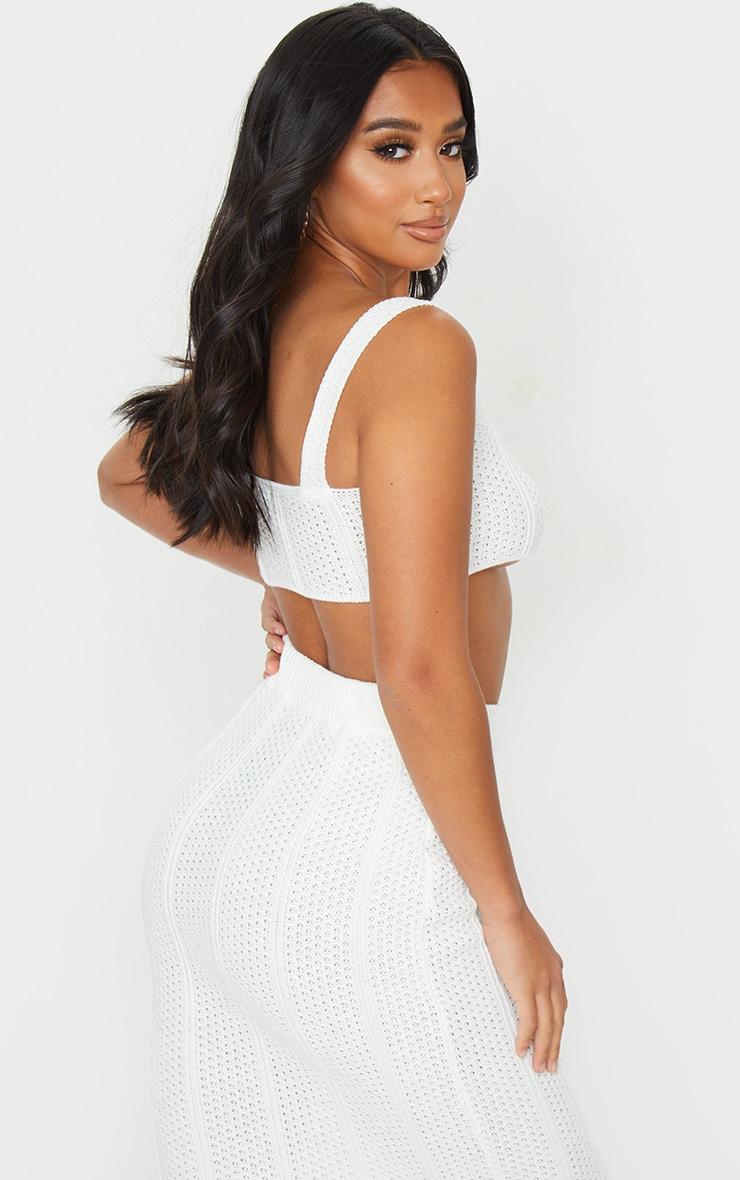 Petite White Pearl Knit Strappy Crop Top 2