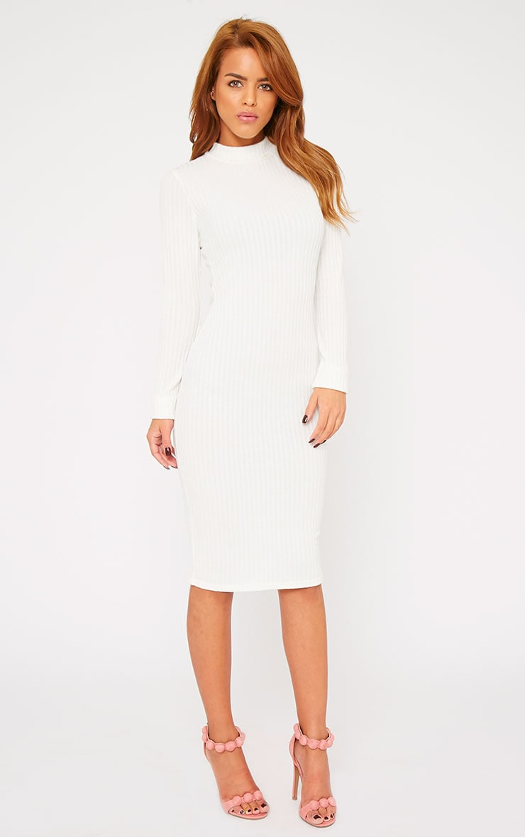 Kiko Cream Ribbed Long Sleeve Midi Dress 1
