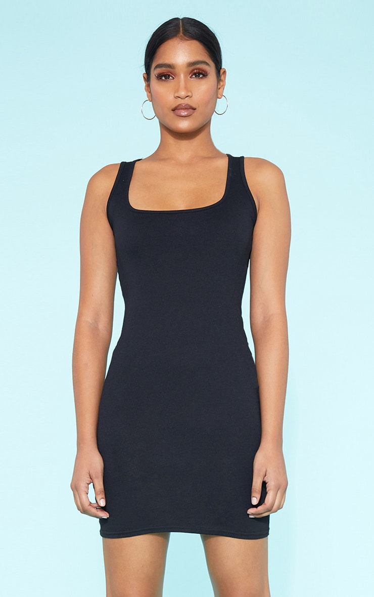 RECYCLED Black Square Neck Sleeveless Bodycon Dress 1
