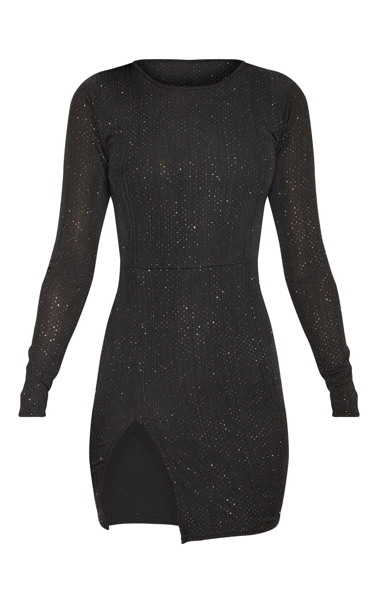 Black Glitter Split Leg  Bodycon Dress 3