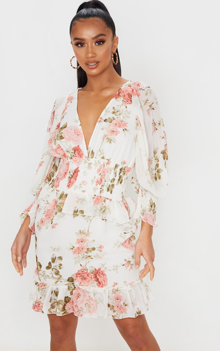 Petite Cream Floral Button Detail Puff Sleeve Chiffon Dress 1