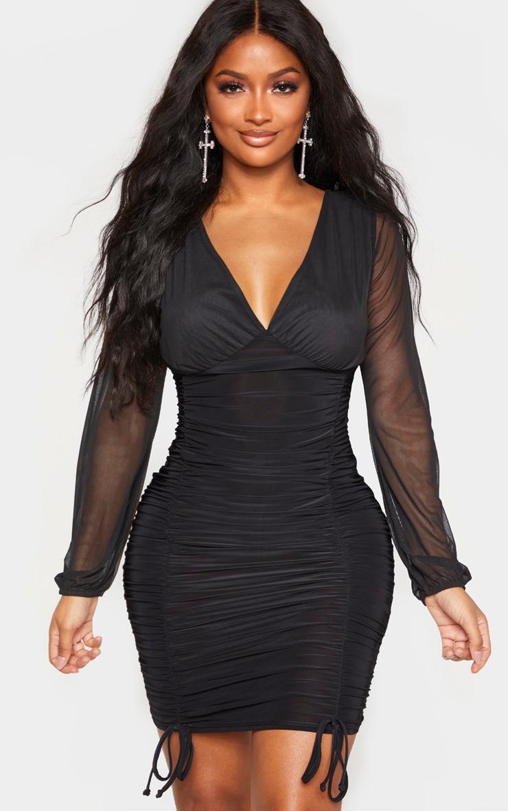 Shape Black Slinky Ruched Mesh Sleeve Bodycon Dress