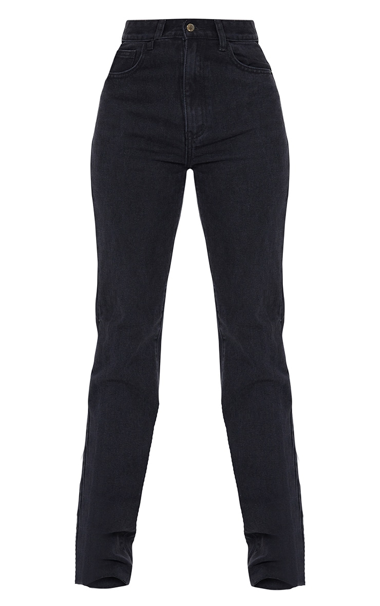 PRETTYLITTLETHING Tall Washed Black Long Leg Straight Jean 5
