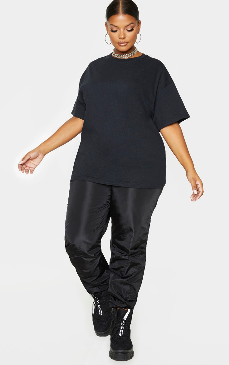 PRETTYLITTLETHING Plus Black Oversized Slogan T-Shirt 5