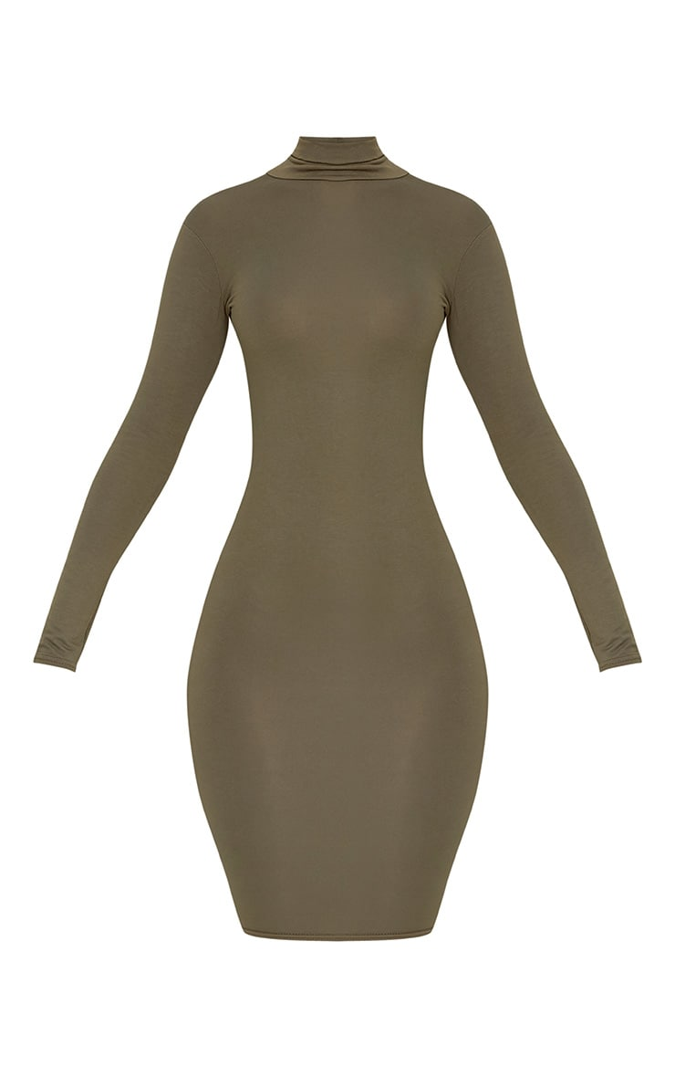 Basic Khaki Jersey Roll Neck Midi Dress 3
