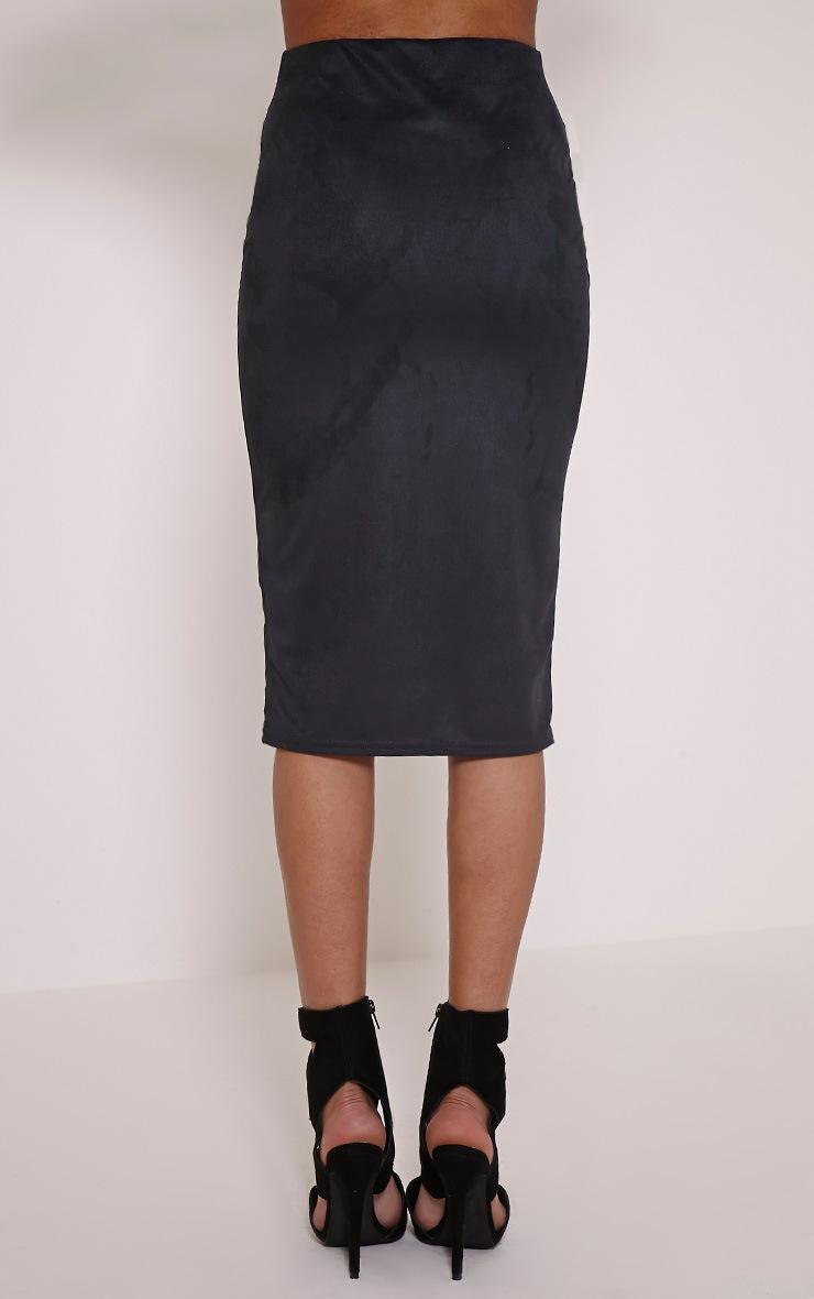 Aggie Black Faux Suede Midi Skirt 3