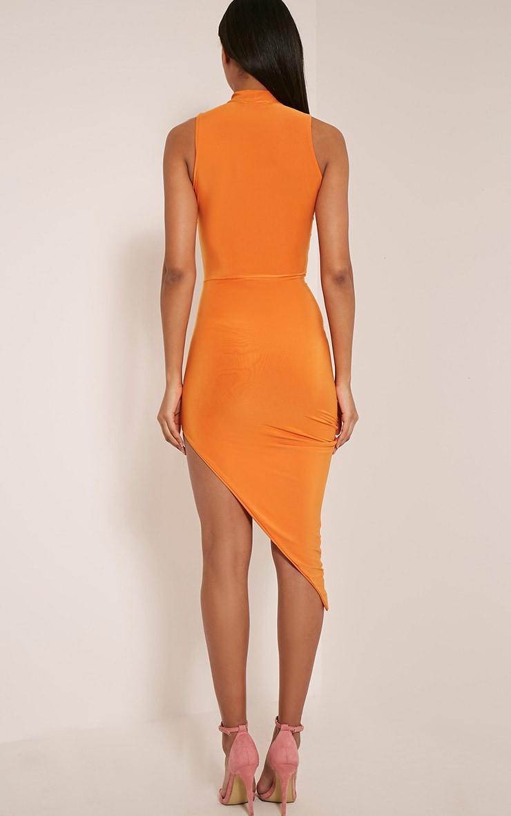 Prim Bright Orange Slinky Drape Asymmetric Dress 4