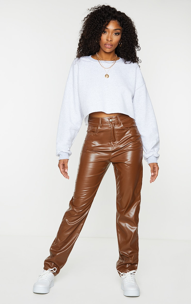 Chocolate Faux Leather Contrast Stitch Straight Leg Pants 1