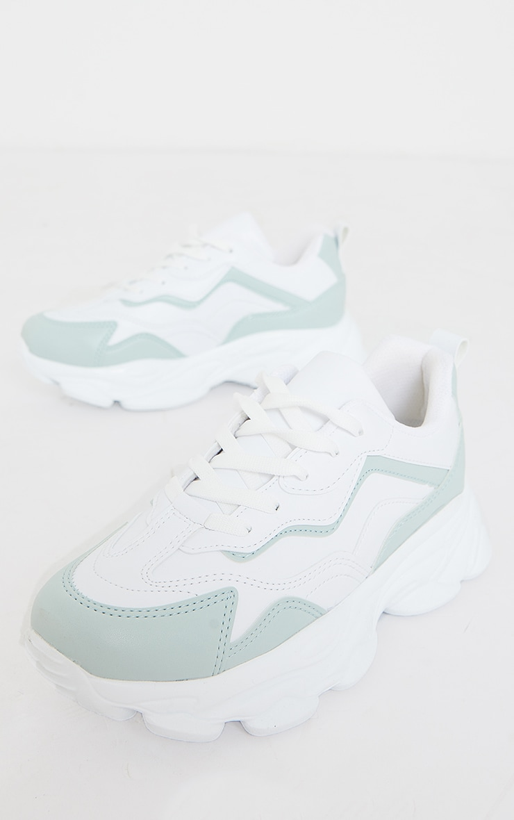 Mint PU Contrast Mesh Color Block Bubble Sole Sneakers 3